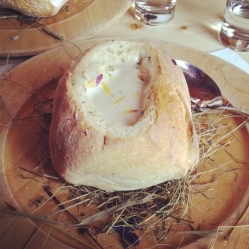 Hay soup in a delicious homemade bread bowl